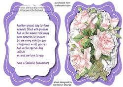 Tent Card , Anniversary with Verse ,