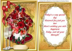 Anniversary Red Roses in a Cup with Verse