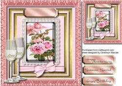 Lovely Pink Roses on Lace with Glasses ,