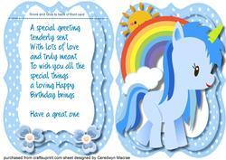 Ten Card with Verse , Little Blue Unicorn ,