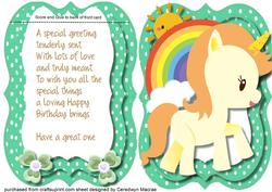 Tent Card with Verse , Little Green Yellow Unicorn .