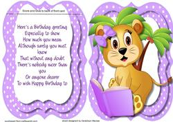 Tent Card with Verse, Lion Cubs Learing Lesson ,