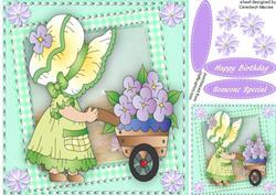 Lovely Bonnet Girl with Wheelbarrow,