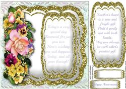 Lovely Mixed Flowers and Anniversary Verse,