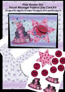 Pink Rocker Girl Secret Message Foldout Star Card Kit
