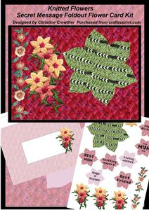 Knitted Flowers Secret Message Foldout Flower Card Kit