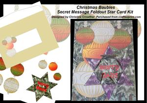 Christmas Baubles Secret Message Foldout Star Card Kit