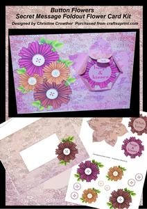 Button Flowers Secret Message Foldout Flower Card Kit
