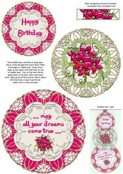 Hot Pink Floral Swivel Trio Card