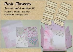 Pink Flowers Dovetail Card & Envelope Kit