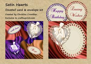 Satin Hearts Dovetail Card & Envelope Kit