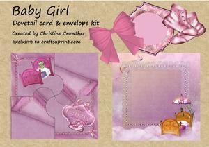 Baby Girl Dovetail Card & Envelope Kit