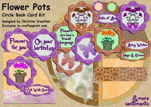 Flower Pots Circle Book Card Kit