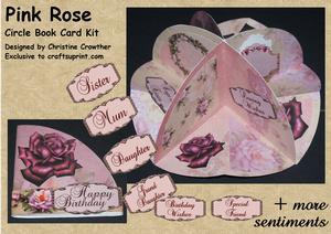 Pink Rose Circle Book Card Kit