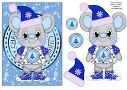 Merry Christmas Mouse - Blue