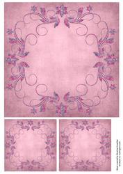 Pink Metallic Floral Swirl Frame Background