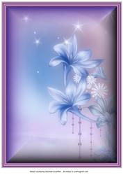 Fantasy Flowers Background in Blue