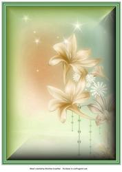 Fantasy Flowers Background in Cream and Green