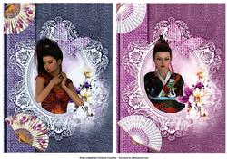 Two Oriental Beauty Card Fronts