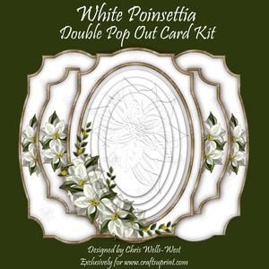 White Poinsettia Double Pop Out Card Kit