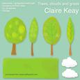 Trees, Clouds and Grass Embellishments - Digital Elements