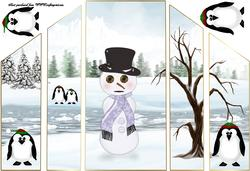 Christmas Snowman and Penquins