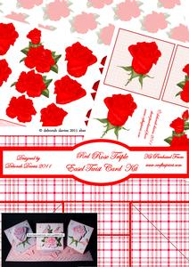 Red Rose Triple Easel Twist Card Kit