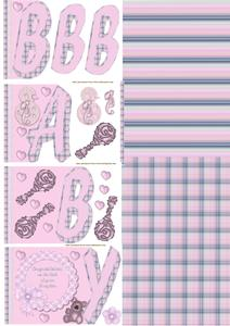 New Baby Word Card Pink