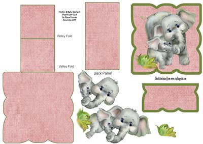 Mother & Baby Elephant Shaped Easel Card