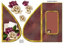 Antique Rose Teardrop Card