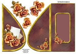Copper Rose Bouquet Teardrop Card
