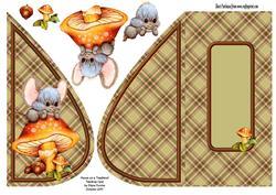 Mouse on a Toadstool Teardrop Card