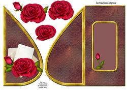 Red Rose Teardrop Card