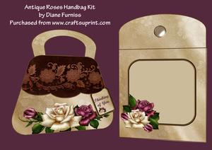 Antique Roses Handbag Card Kit