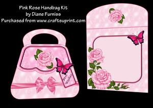 Pink Rose Handbag Card Kit