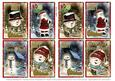 8 Minni Christmas Toppers-snowmen & Santa