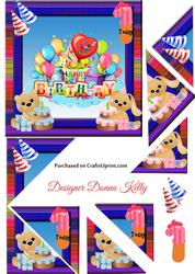 Cute Characters Age Birthday Card Front