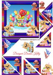 Cute Characters Age Birthday Card Front 2
