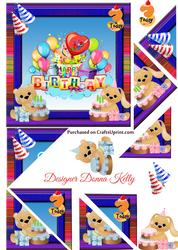 Cute Characters Age Birthday Card Front 3