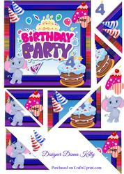 Cute Characters Age Birthday Card Front 4