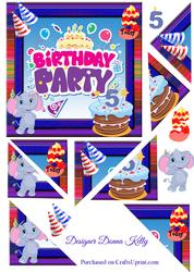 Cute Characters Age Birthday Card Front 5