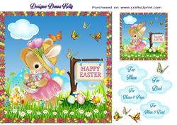 Pink Bunny Easter Card