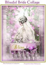 Vintage Blissful Bride Collage for Cards, Journals, Crafts