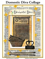 Vintage Domestic Diva Dictionary Page Collage for Crafts
