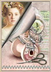 Portrait of a Seamstress Collage for Cards, Crafts