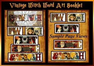 Vintage Witch Word Art Collage Booklet