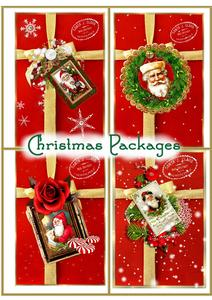 Vintage Santa Christmas Packages Both Toppers & Card Fronts
