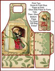 Vintage Christmas Child Gift Tote and Tag Set