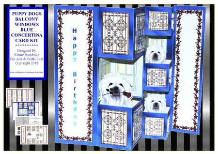 Puppy Dogs Balcony Windows Blue Concertina Card Kit