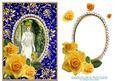 Decoupage Yellow Roses Vintage Lady White Dress - Blue Card